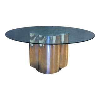 Art-Deco Chrome Base Dining Table With Glass Top