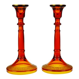 Vintage Amber and Gilt Indiana Glass Candle Holders - A Pair
