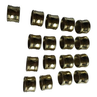 Brass Lacquered Napkin Rings - Set of 17