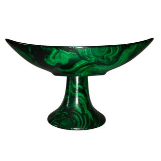 Footed Faux-Malachite Finish Bowl