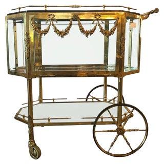 Bronze Vitrine Style Hollywood Regency Bar Cart