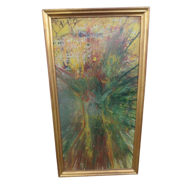 Large Colorful 1960s Abstract Oil - Image 1 of 8