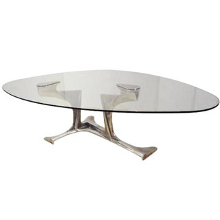 Gerard Mannoni Exceptional Dining Table in Aluminum and Glass France circa 1970