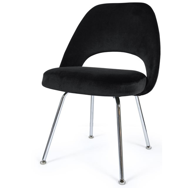 Saarinen executive armless chair in black velvet chairish for Saarinen executive armless chair