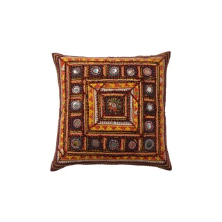 Global-Inspired Embroidered Pillow