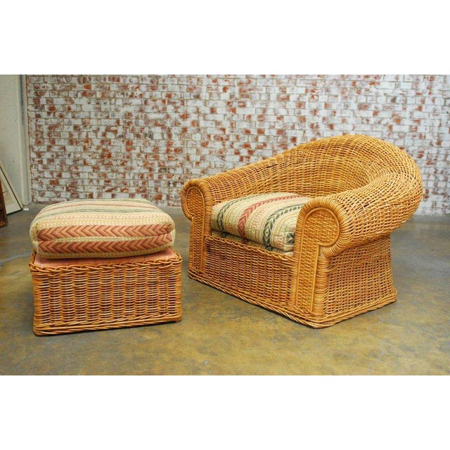 Michael Taylor Inspired Wicker Lounge Chair and Ottoman - Image 2 of 11