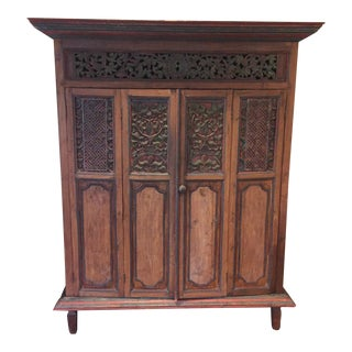 Indonesian Teak Painted Armoire