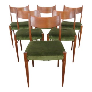 Danish Modern Green Dining Side Chairs - Set of 6