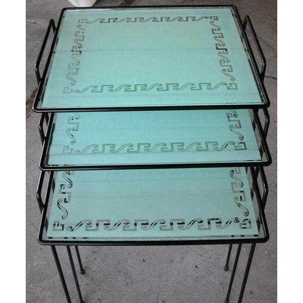 A Set of 3 American Wrought Iron Nesting Tables w/Glass Tops - Image 2 of 4