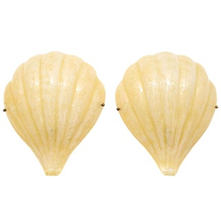 Murano Glass Shell Sconces - A Pair