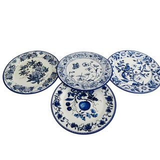 Blue & White Victorian Tin Plates - Set of 4