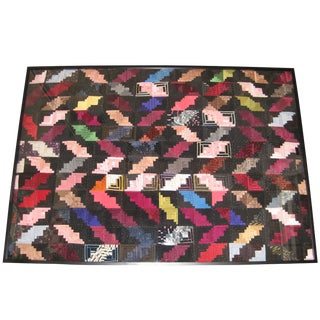 "Framed Antique Satin Log Cabin Quilt - 70"" x 50"""