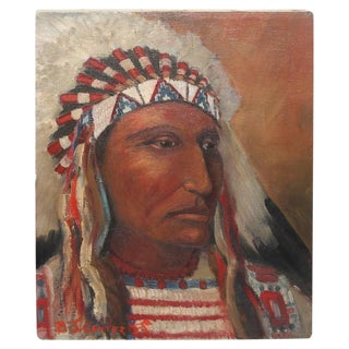 early 20th c. Black Foot Chief Indian oil Painting