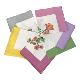 Mid-Century Modern Napkins With Floral Motif - Set of 6