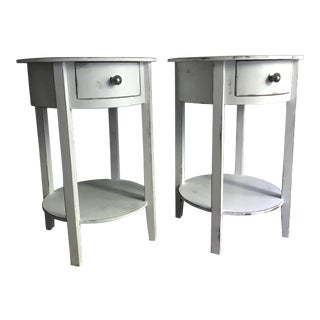 White Distressed Side Tables - A Pair
