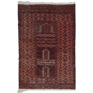 """1940s Handmade Vintage Prayer Turkmen Hachli Rug - 4'2"""" x 6'"""