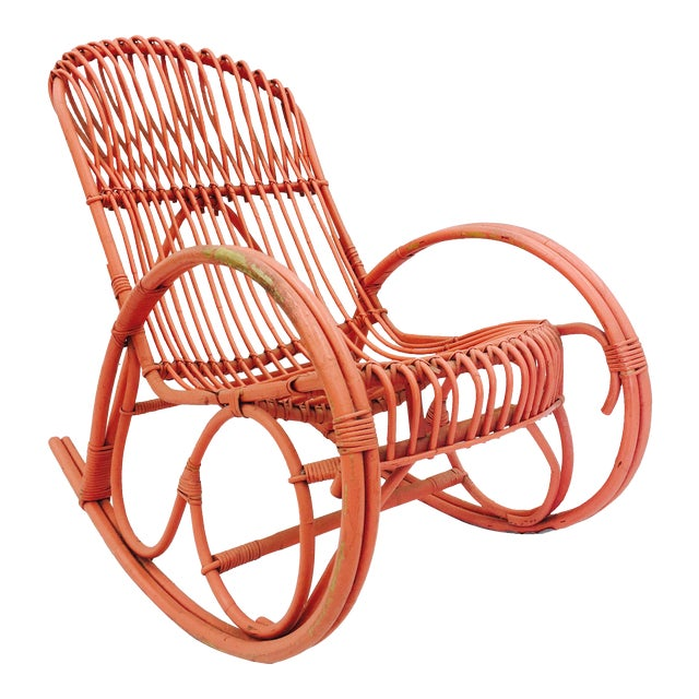 Vintage F. Albini Orange Rattan Rocking Chair - Image 1 of 6