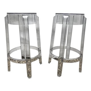 Kartell & Starck Charles Ghost Counter Stools - A Pair