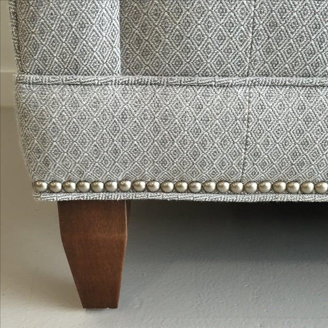 Light Grey Tuxedo Custom Built Loveseat - Image 5 of 6