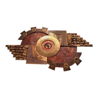 Curtis Jere Style Mixed Metals Brutalist Wall Sculpture