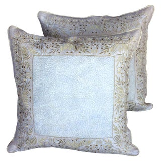 Embroidered Ivory & Gold Silk Pillows - A Pair