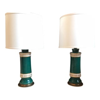 Teal & Gold Greek Key Table Lamps - A Pair