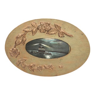 Victorian Gold Wooden Oval Frame with 1909 Postcard