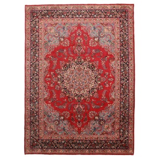Hand-Knotted Wool Persian Mashad - 8′ × 11′