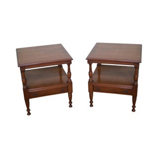 Pennsylvania House Solid Cherry Square One-Drawer End Tables - A Pair