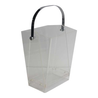 Over Sized Modern Lucite Magazine Holder/ Waste Basket