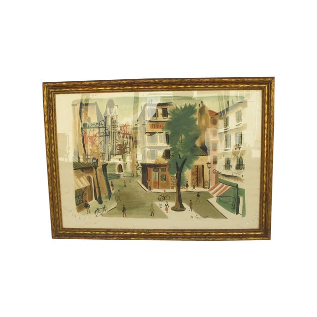 Antique Lithograph of Village Scene - Image 1 of 6