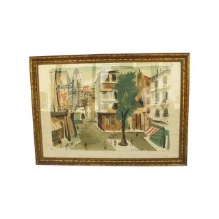 Antique Lithograph of Village Scene