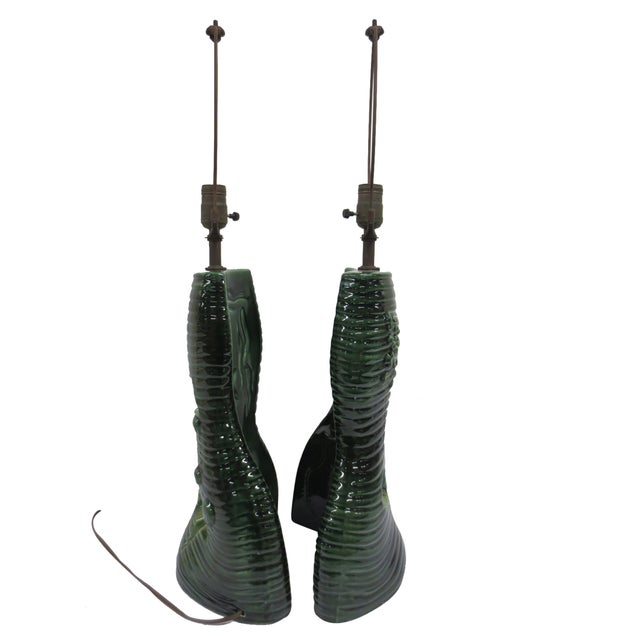 Pair Mid-Century Green Glazed Lamps - Image 3 of 6