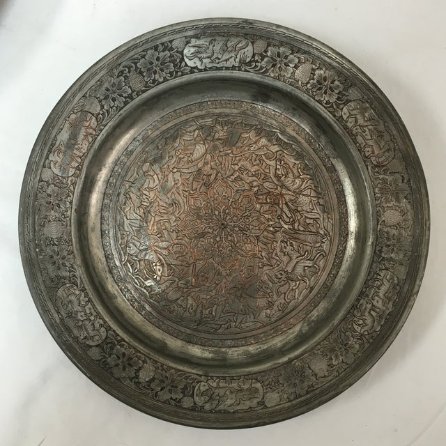 Antique Persian Etched Tinned Copper Plate Chairish