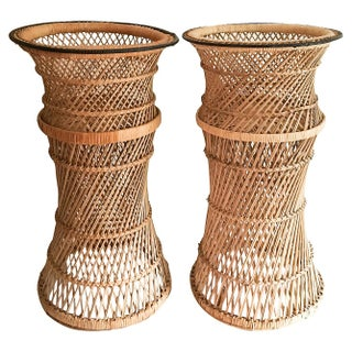 Woven Pedestal Plant Stands - A Pair