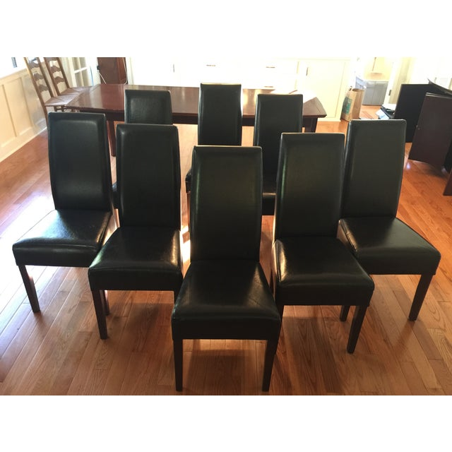 Parson Style Espresso Leather Dining Chairs - 8 - Image 2 of 6