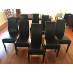 Image of Parson Style Espresso Leather Dining Chairs - 8