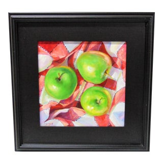 'Green On Check' Still Life Oil Painting