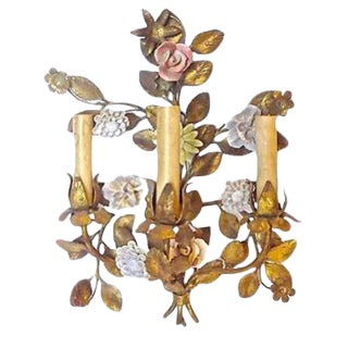 Antique Tole & Porcelain Floral Wall Sconce