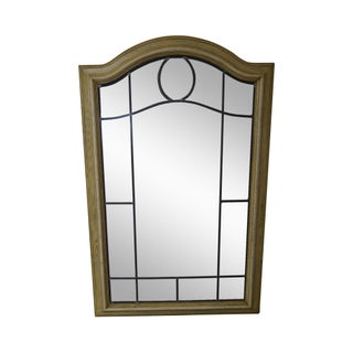Vintage Cerused Oak Frame Leaded Glass Mirror