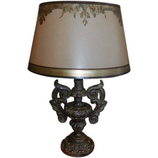 Gilt-Wood Italian Urn Table Lamp With Custom Shade
