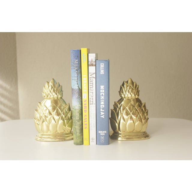 Image of Large Brass Pineapple Bookends - Pair