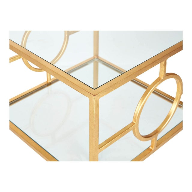 Gold Leaf Side Tables by Worlds Away - A Pair - Image 4 of 5