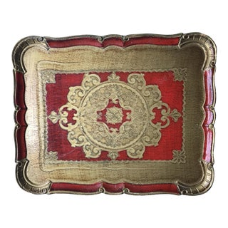Red & Gold Florentine Wooden Tray