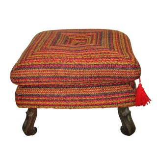 Vintage Colorful Upholstered Ottoman
