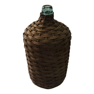 Vintage Tuscan Wicker Wrapped Blue Glass Wine Bottle