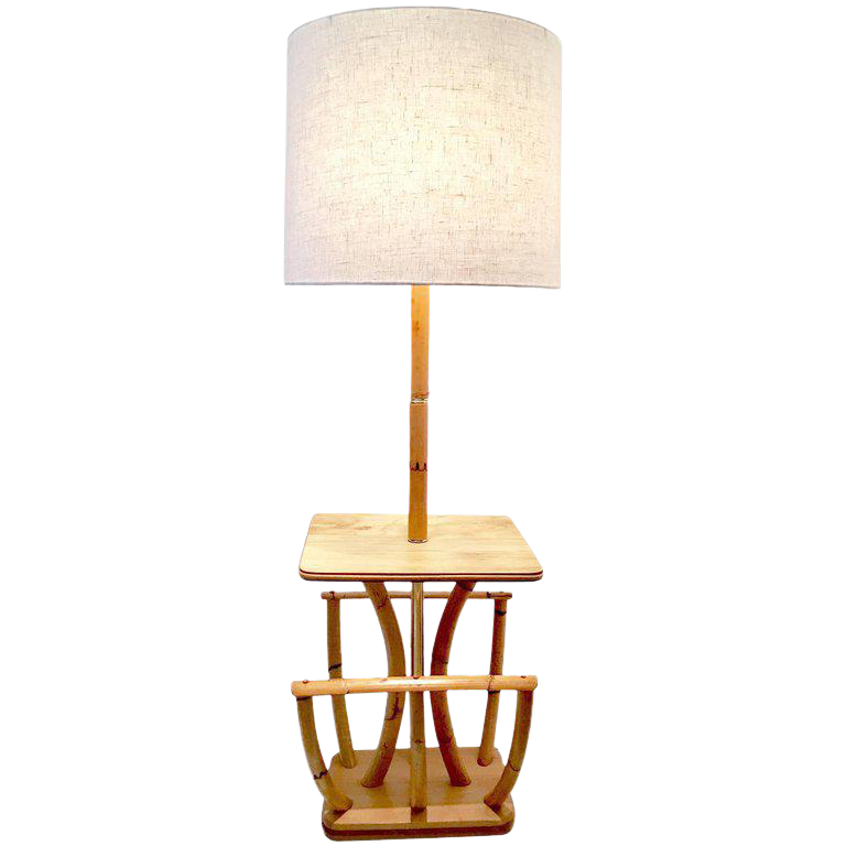 Paul Frankl Style Rattan And Reed Table Floor Lamp With Magazine Rack