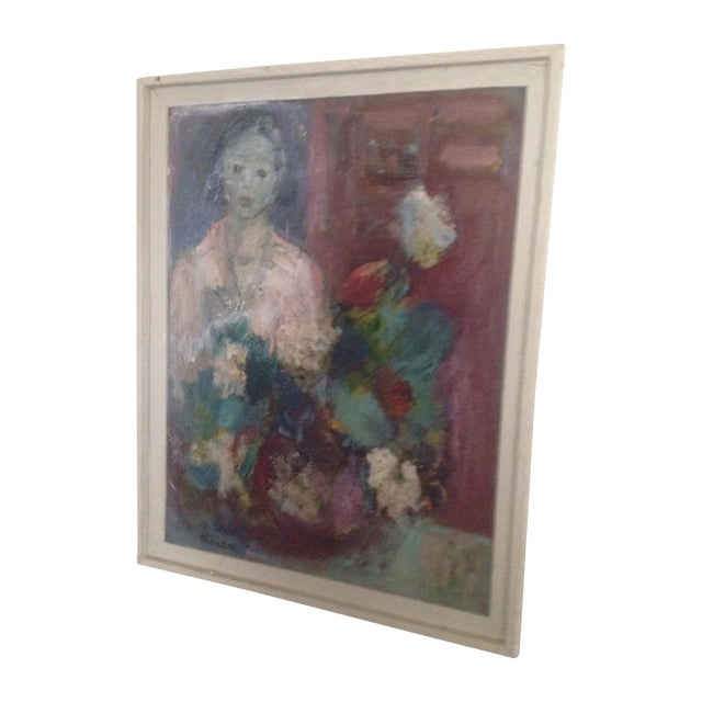 Image of Antique French Woman & Flowers Painting