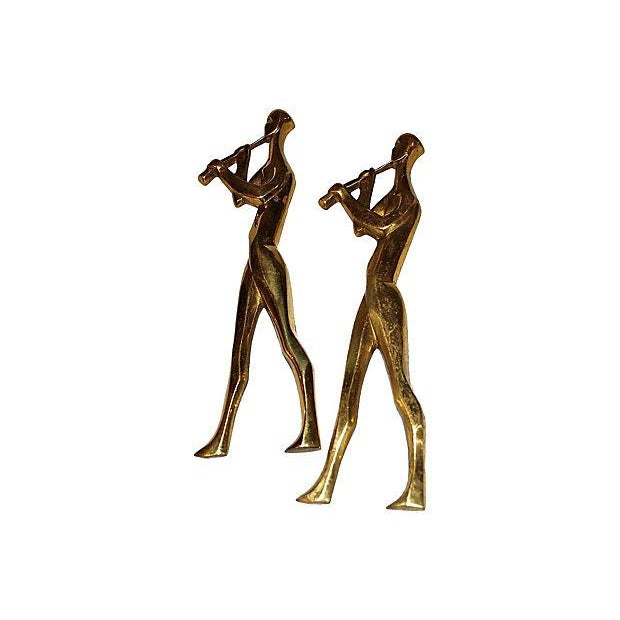 Mid-Century Brass Musicians Wall Hangings - 4 - Image 4 of 8