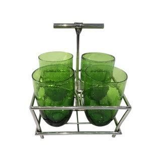 Green Glass Double Old Fashioneds with Caddy